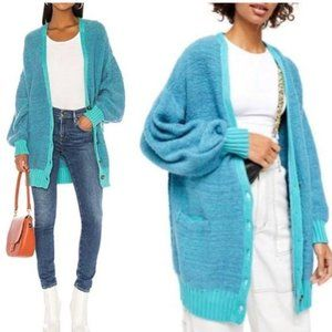 Free People Blue Boho Hippie Wool Slouchy Sweater